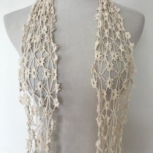 Accessories - Crochet ivory cream colored scarf